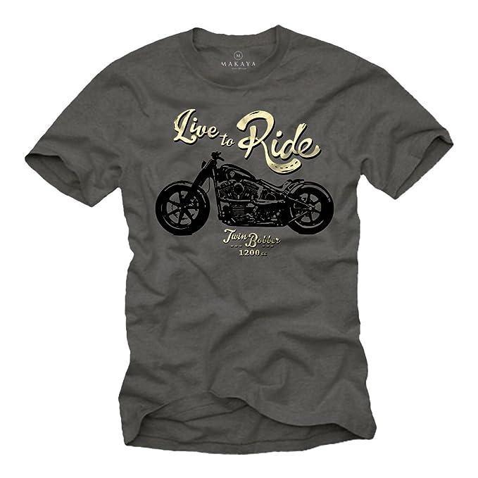 MAKAYA Ropa Moto Hombre - Camiseta con mensaje LIFE TO RIDE - Gris S