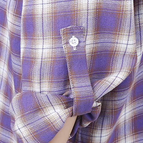 Roll ililily Dress Blouse Purple Fit Boyfriend Sleeve Plaid Women Long Shirt Checkered 1XqT1r8A