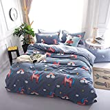 Unicorn Bedding Set Double Size 200x200cm Cartoon Animal Rainbow Print Duvet Cover and Pillowcases 3pcs for Kids Boys Girls Bedspreads