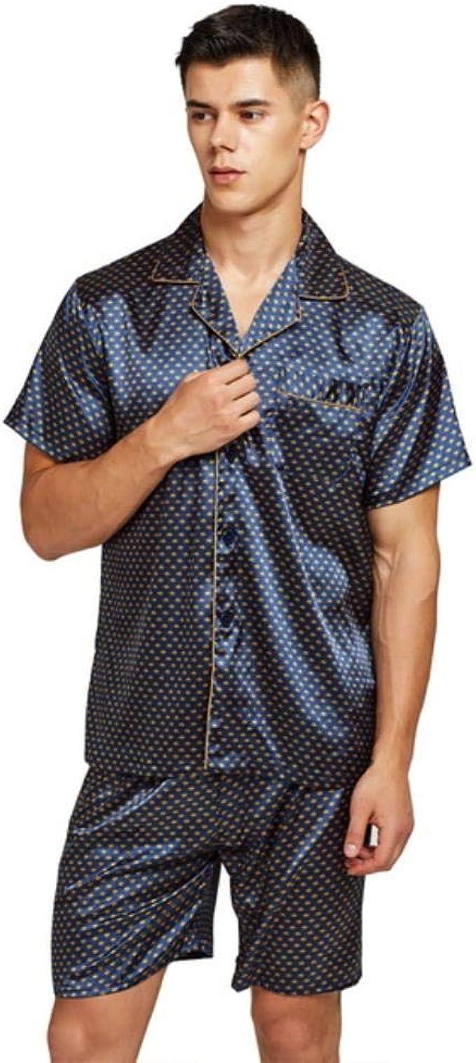 Herren Nachtwäsche Kurz Strand Hose Satin Seide Schlafanzug Pyjama Boxer Sommer