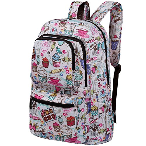 Vbiger Large-capacity School Backpack Breathable School Shoulders Bag Outdoor Daypack with Cute Puppy Prints Suitable for Primary and Middle School Students (White(Ice Cream))