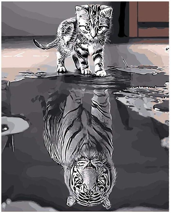 sin Marco Bricolaje Pintura al /óleo Gato o Tigre Dibujo Arte Manualidades Gato reflexi/ón Tigre Pinturas para Adultos Principiante Bestlle Pintar por n/úmeros para Adultos 16x20in