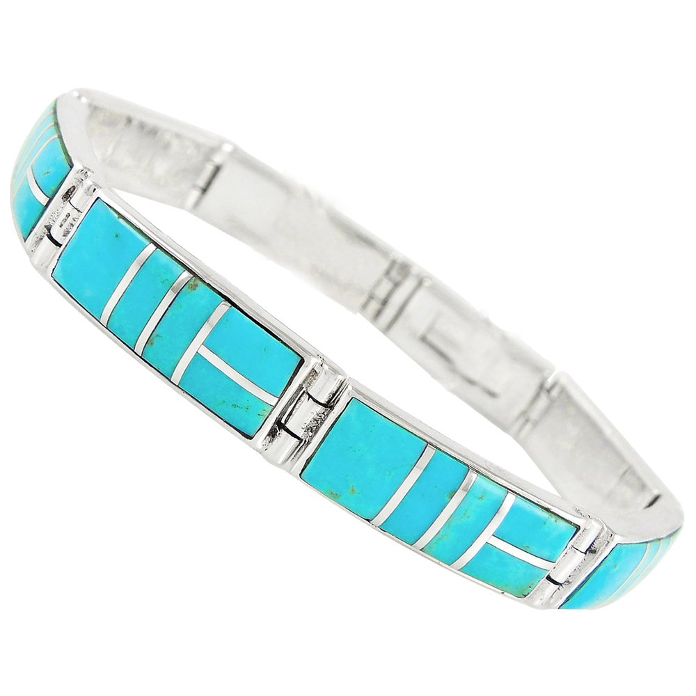 Turquoise Bracelet Sterling Silver 925 Genuine Gemstones Link Bracelet (SELECT COLOR) (Turquoise) by Turquoise Network