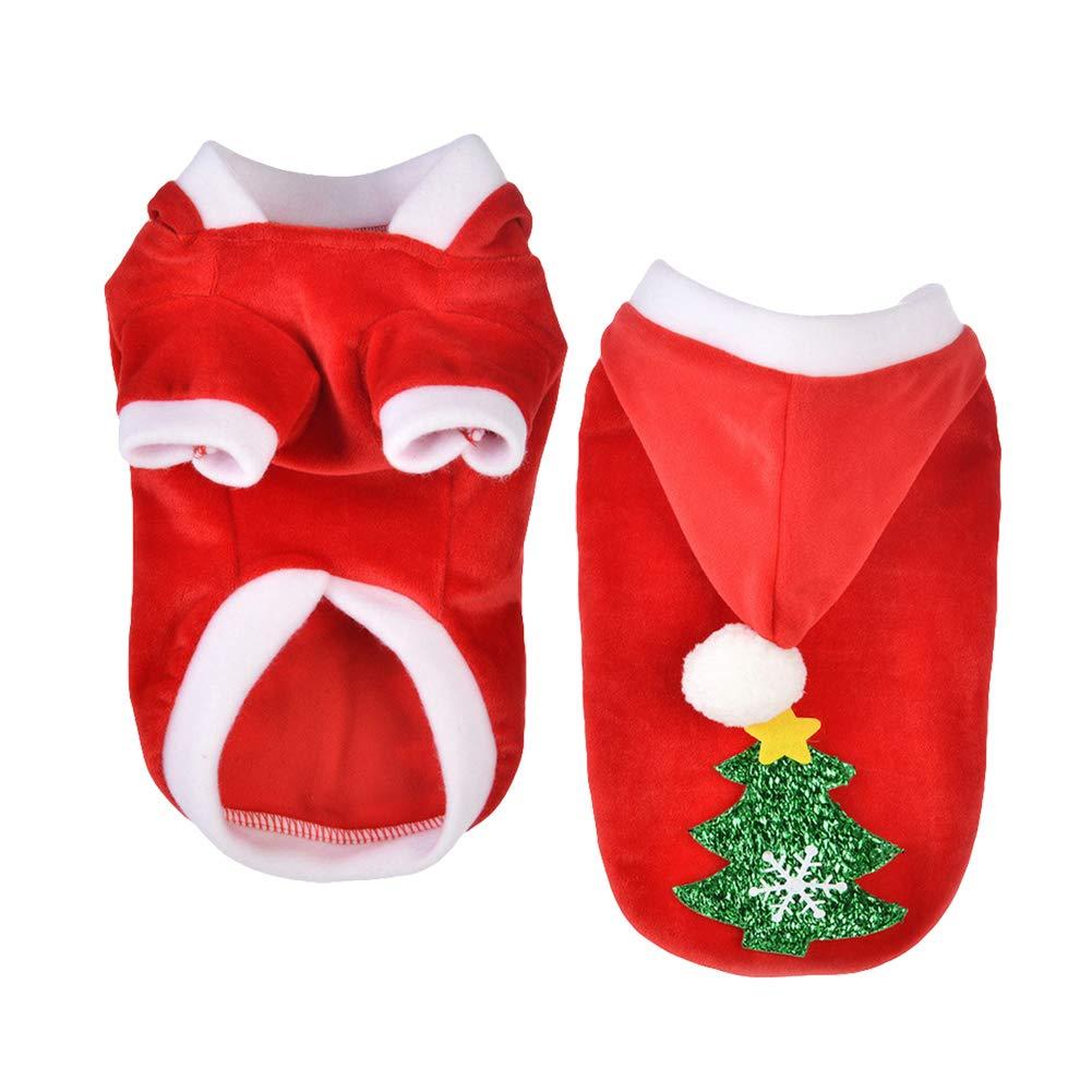 DERKOLY Mode Weihnachtsbaum Herbst Winter Puppy Hoodie Hund Kapuzenjacke Mantel Warme Haustier Kleidung Kostüm Anzug Bekleidung
