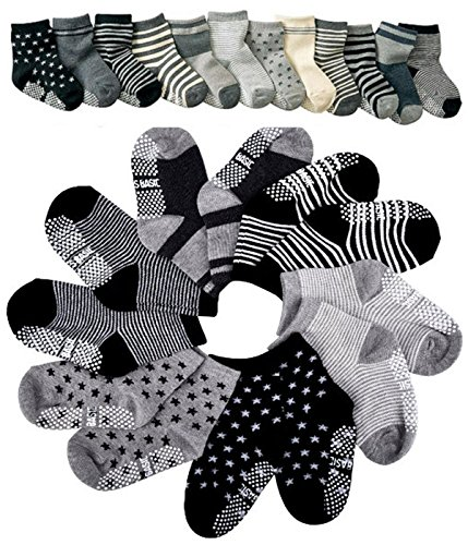 Pro1rise® Assorted 6 Pairs Non-skid Baby Boys Toddler Anti Slip Stretch Knit Stripes Star Cotton Grips Socks Slippers 12 - 36 Months