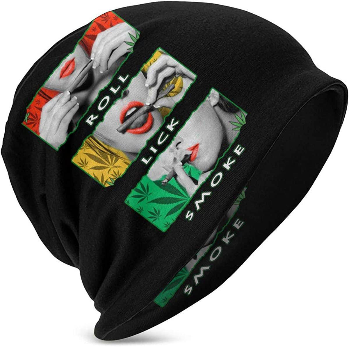 Slotley Beanie Caps Roll It Lick It Smoke It Marijuana Pot Weed Skull Cap Knitting Hat Comfortable Warm Knit Hats for Girls Boys Black