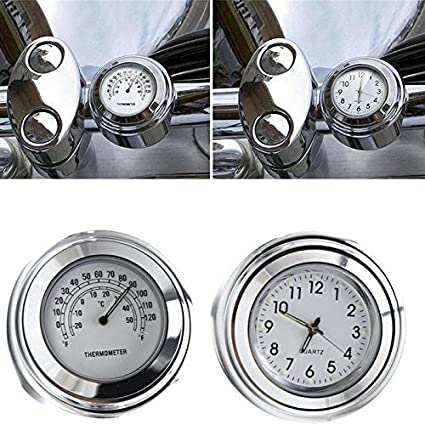 "7//8/"" 1/"" Chrome Handlebar Motorcycle Mount Thermometer For Harley Honda Yamaha"