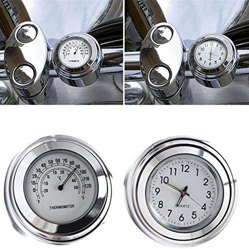 Yooap 7/8' 1' Motorcycle Handlebar Waterproof Chrome Dial Clock and Thermometer for Yamaha Kawasaki Honda Suzuki Harley Davidson (Black)