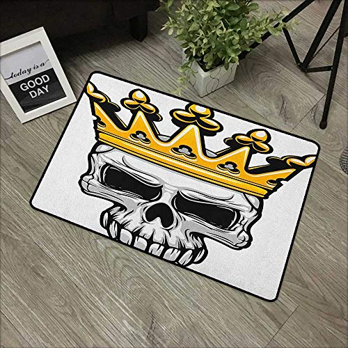 Bathroom Door mat W24 x L35 INCH King,Hand Drawn Crowned Skull Cranium with Coronet Tiara Halloween Themed Image, Golden and Pale Grey with Non-Slip Backing Door Mat Carpet]()