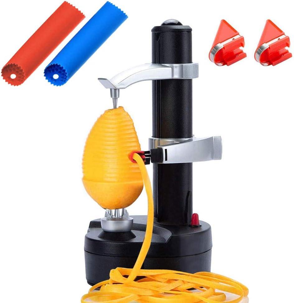 AIHANCH Electric Potato Peeler Automatic [2 Extra Blades] - Auto Apple Peeler Smart Vegetable Fruit Peeler Machine Stainless Steel Kitchen Peeling Tool with 2 Set Garlic Peeler