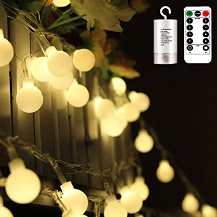 Echosari Frosted Warm White Globe Battery String Lights With Timer Remote Strand Of 100 33ft 10m 8 Mode Waterproof Amazon Co Uk Garden Outdoors
