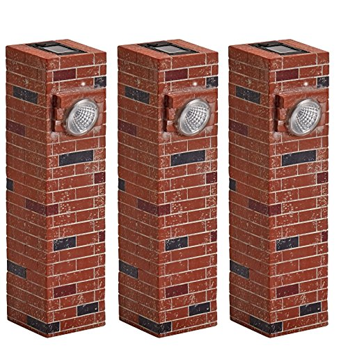 Bundle of 3 Red Brick Solar Pathway Light - Bright LED Landscape and Sidewalk ()