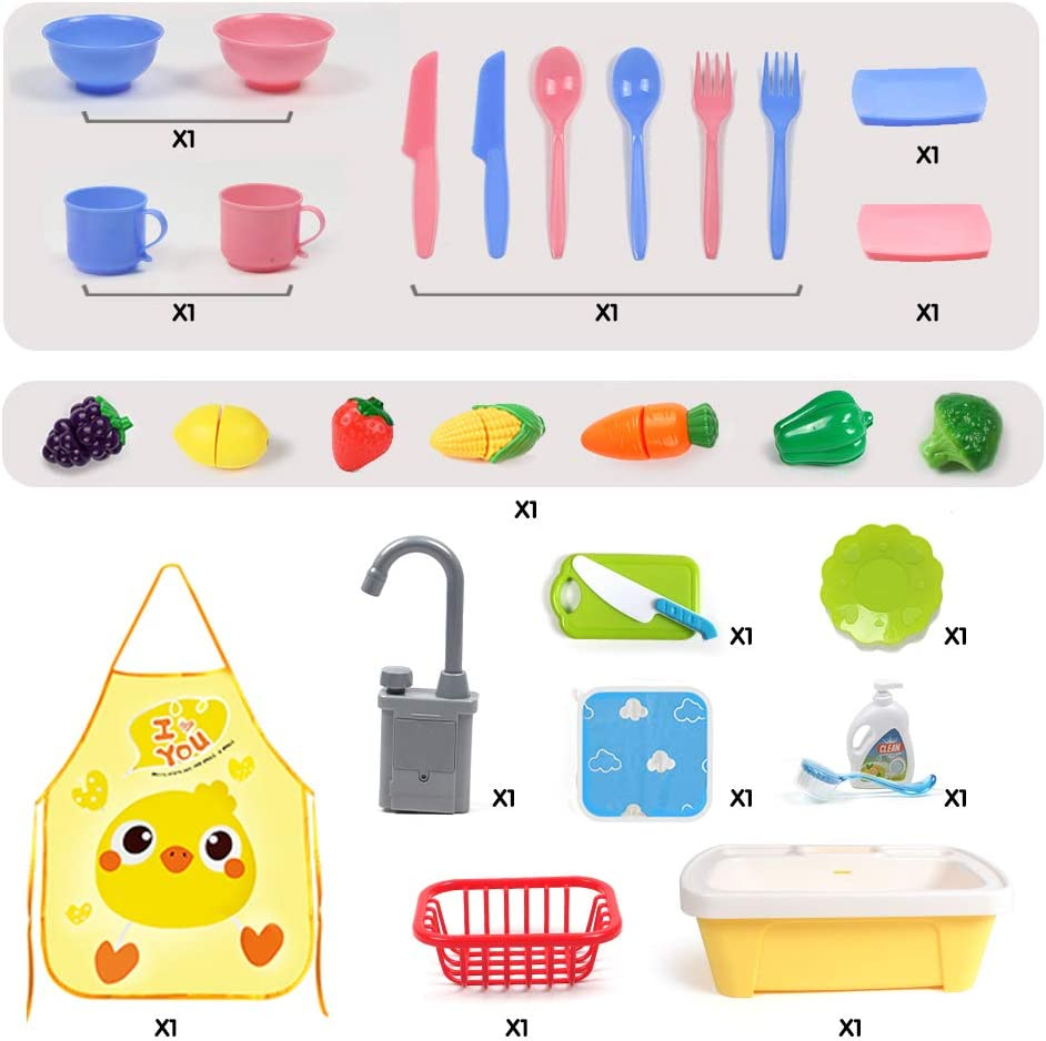 GobiDex Color Changing Play Kitchen Sink Toys,29PCS Kids Kitchen Dishwasher Toys for Children with Running Water Auto-Cycle Pretend Role Play Kitchen Sink Toys for Boys Girls