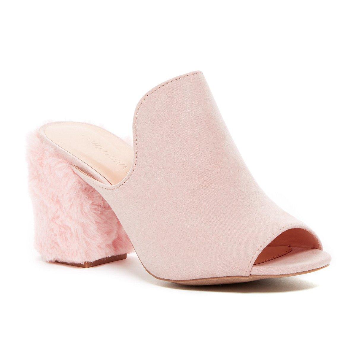 Wild Diva Women's Slip-On Peep-Toe Fur Block Heel Mule in Nude Size: 10