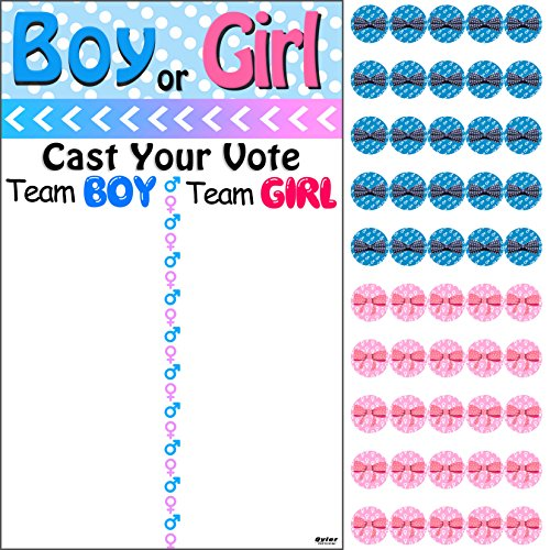 Qyler Baby Shower Gender Reveal Voting Board Team Voting Board with Pink & Blue -