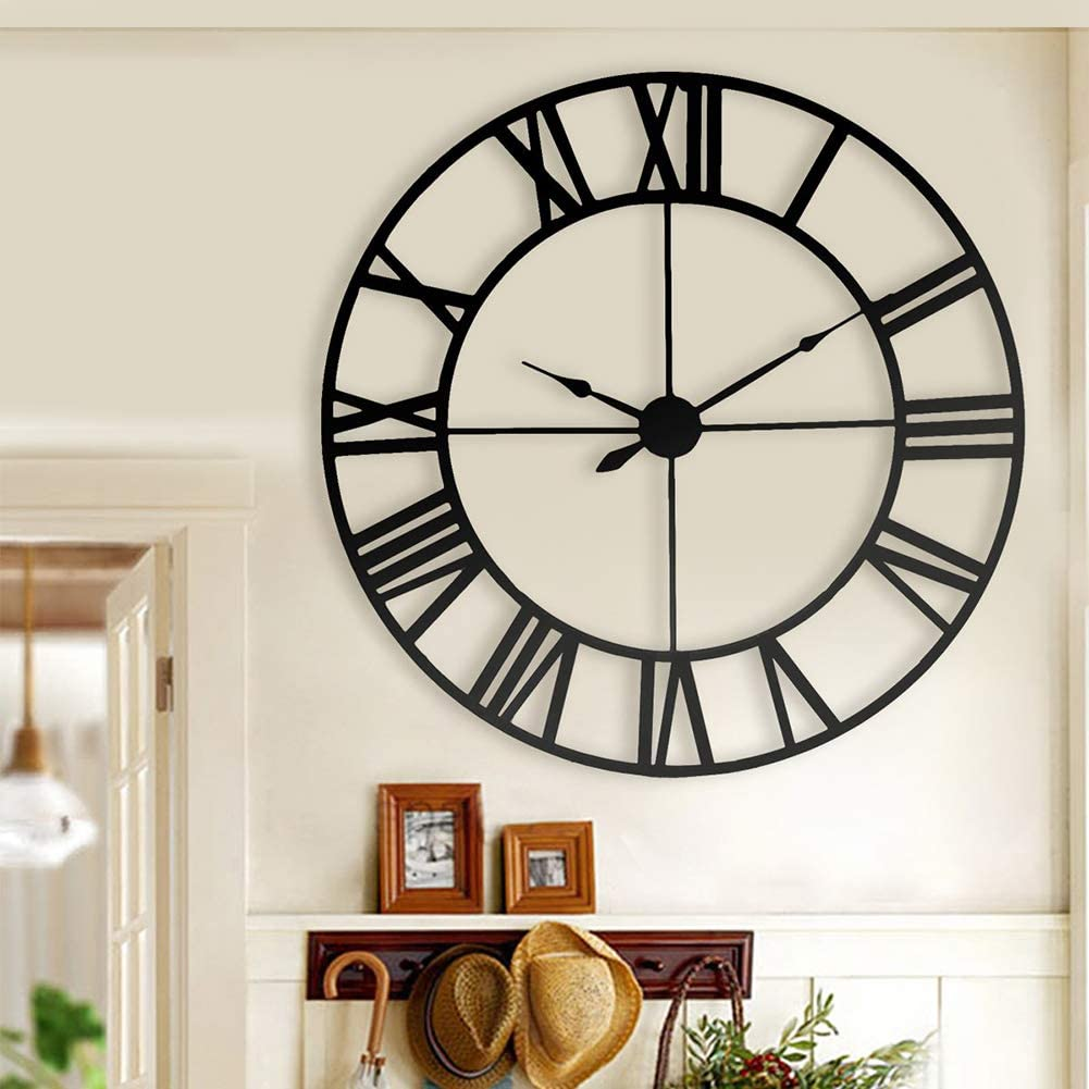 PX7 32 Inch Large Modern Metal Wall Clocks Rustic Round Silent Non Ticking Battery Operated Farmhouse Black Roman Numerals Clock for Living Room/Office/Bedroom/Kitchen Wall Decor,80cm