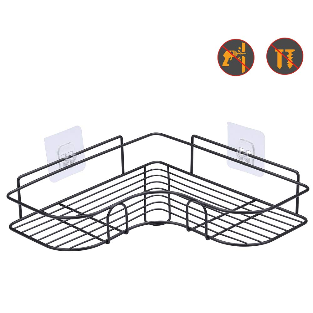 Non-Drilling Floating Shelf for Bathroom Organizer//Kitchen//Shower Organizer 1 Pack, Black Laigoo Adhesive Shower Caddy Metal Bathroom Corner Shelf Wall Mounted
