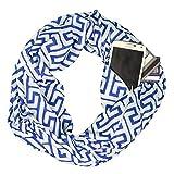 Women's Greek Key Pattern Infinity Scarf with Zipper Pocket - Blue - Pop Fashion