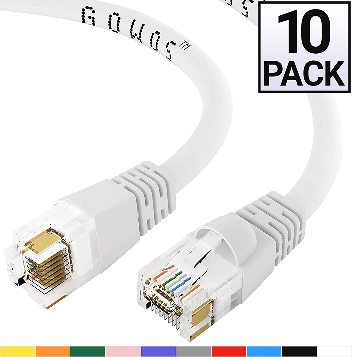 Computer Network Cable with Snagless Connector UTP RJ45 10Gbps High Speed LAN Internet Patch Cord 3 Feet - Green GOWOS Cat6a Ethernet Cable Available in 28 Lengths and 10 Colors