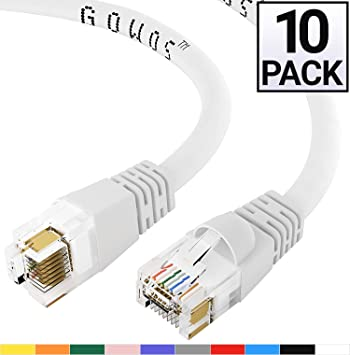 10 Gigabit//Sec High Speed LAN Internet//Patch Cable GOWOS Cat6a Ethernet Cable 550MHz 50-Pack - 4 Feet Blue 24AWG Network Cable with Gold Plated RJ45 Snagless//Molded//Booted Connector