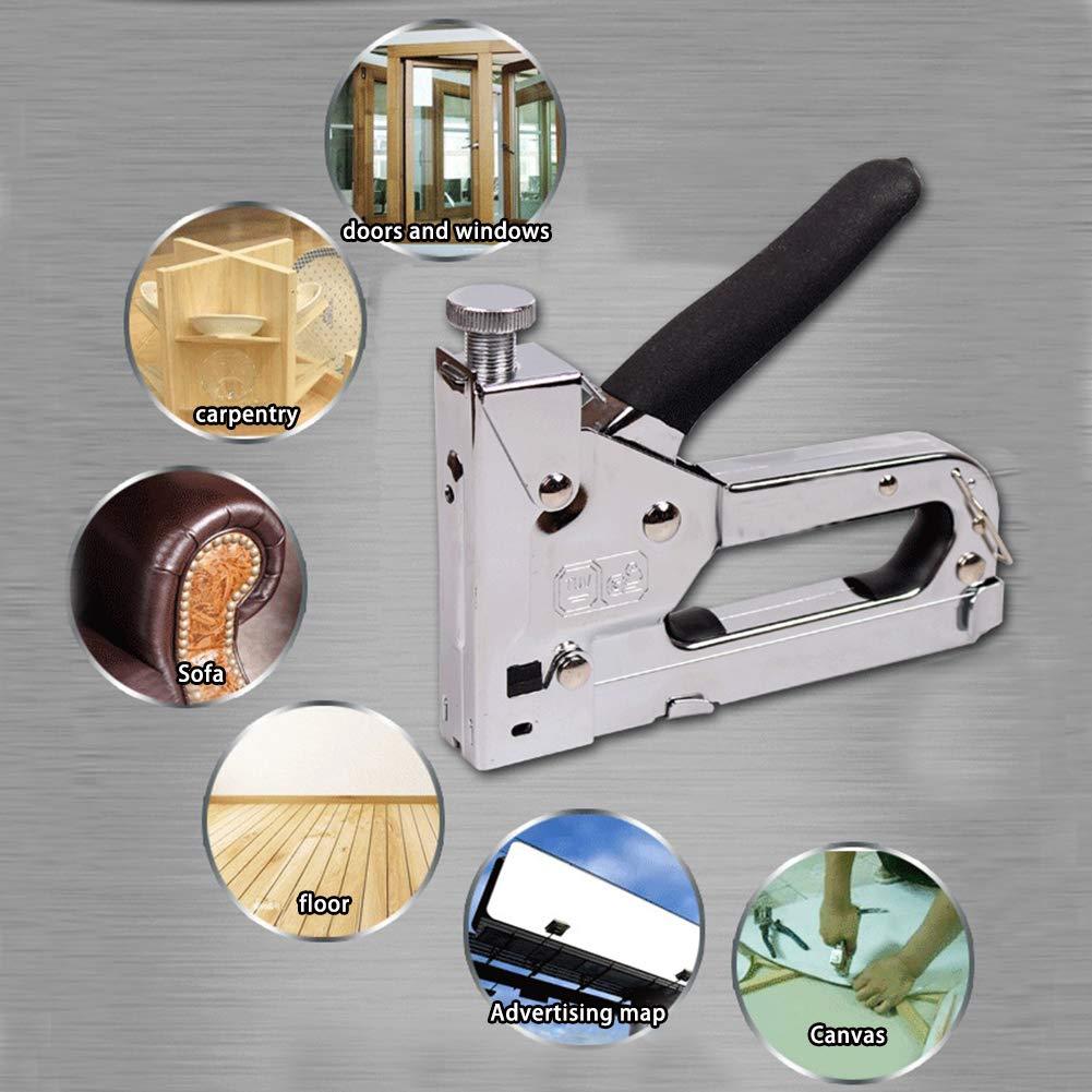 UnionFashionLi Grapadora Tapizar Cables 3 en 1 con 600 Piezas de Uñas Incluye Clavo DUT para Madera de Fijación de Tapicero (ZS41)