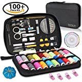 SEWING KIT– Over 120 Quality Essential Sewing Supplies, with 22 Premium Spools of Threads, Scissors, Includes Easy to Thread Sewing Needle, Perfect Starter, Adults, Beginners, Best For Home, Travel