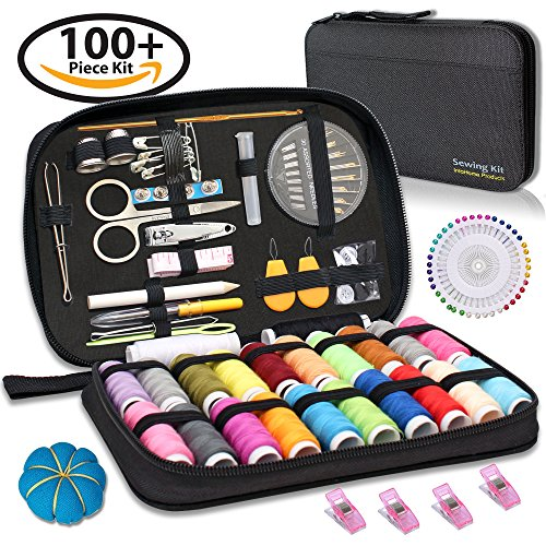 SEWING KIT– Over 120 Quality Essential Sewing Supplies, with 22 Premium Spools of Threads, Scissors, Includes Easy to Thread Sewing Needle, Perfect Starter, Adults, Beginners, Best For Home, Travel by IntoHome Products
