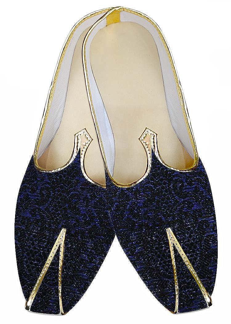 INMONARCH Diseño de Color Azul y Negro Hombres Zapatos de Boda MJ013442 40.5 EU