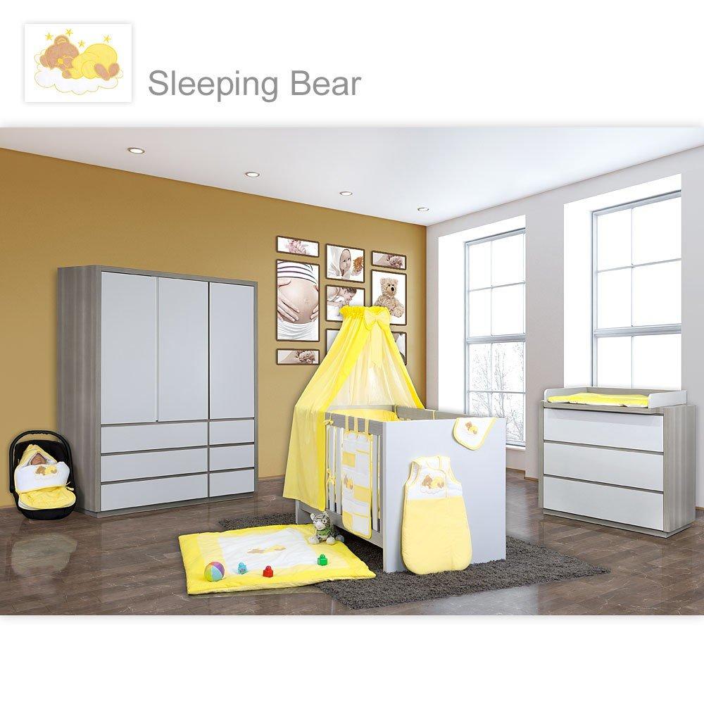 Babyzimmer Atlanta in Akaziengrau 10 tlg. mit 3 türigem Kl. + Sleeping Bear Gelb