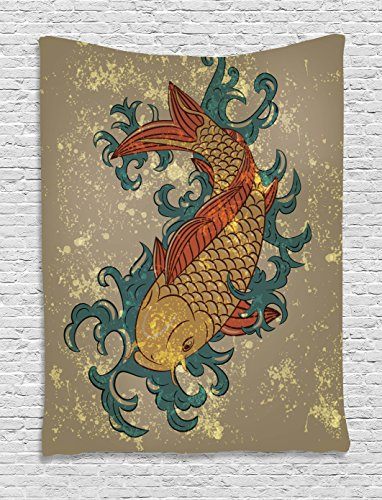 Ambesonne Japanese Tapestry, Grunge Asian Style Oriental Water Koi Carp Fish Aquatic Theme Distressed Pattern, Wall Hanging for Bedroom Living Room Dorm, 60 W X 80 L Inches, Taupe Teal