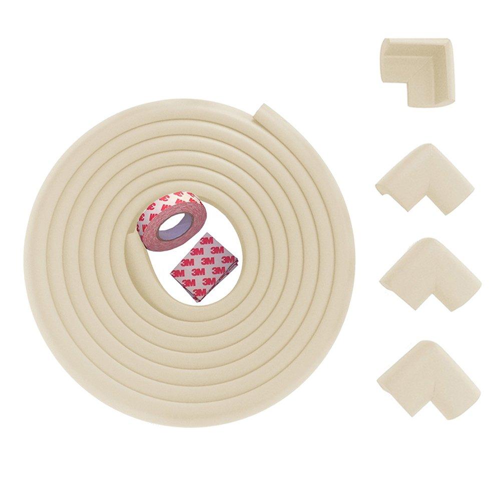 Protector de esquina y borde de seguridad para beb/é Fairy protecci/ón colorida a prueba de ni/ños crema 2 m y 4 protectores de esquina