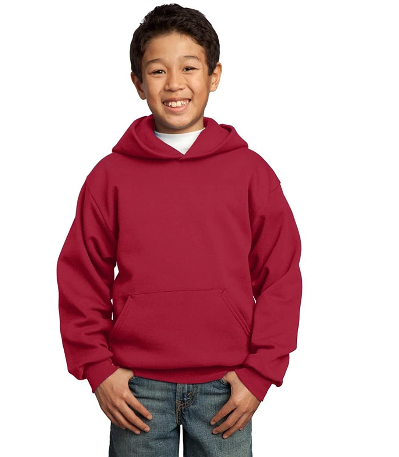 Red Sm Port /& Company Youth Pullover Hooded Sweatshirt