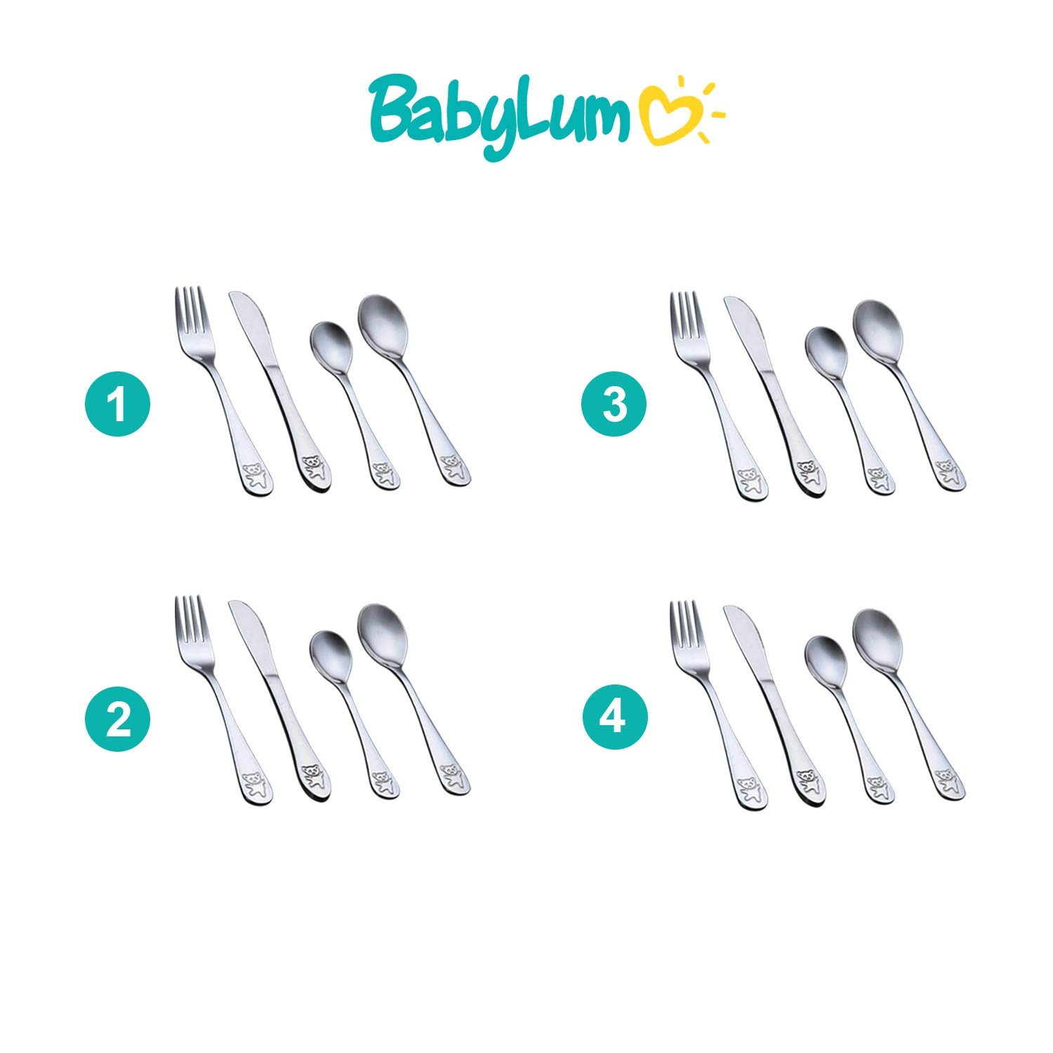 Baby Stainless Steel Fork and Spoon Cutlery Set Toddler Food Feeding Y