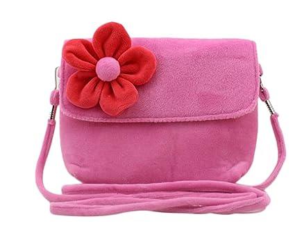 WeiMay bolsos de niños de felpa linda flor bolsos de ...