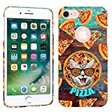 iPhone 7 Case / iPhone 8 Case - Sliced Pizza Cat Hard Plastic Back Cover. Slim Profile Cute Printed Designer Snap on Case by Glisten