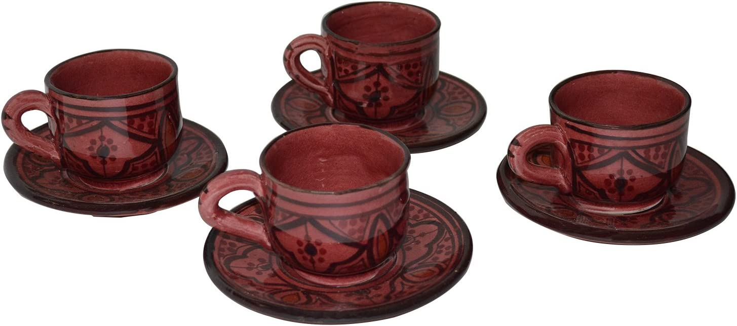 Moroccan Espresso Cups Handmade Imported Set of 4 with 4 Saucers Exquisite Design With Vivid Colors