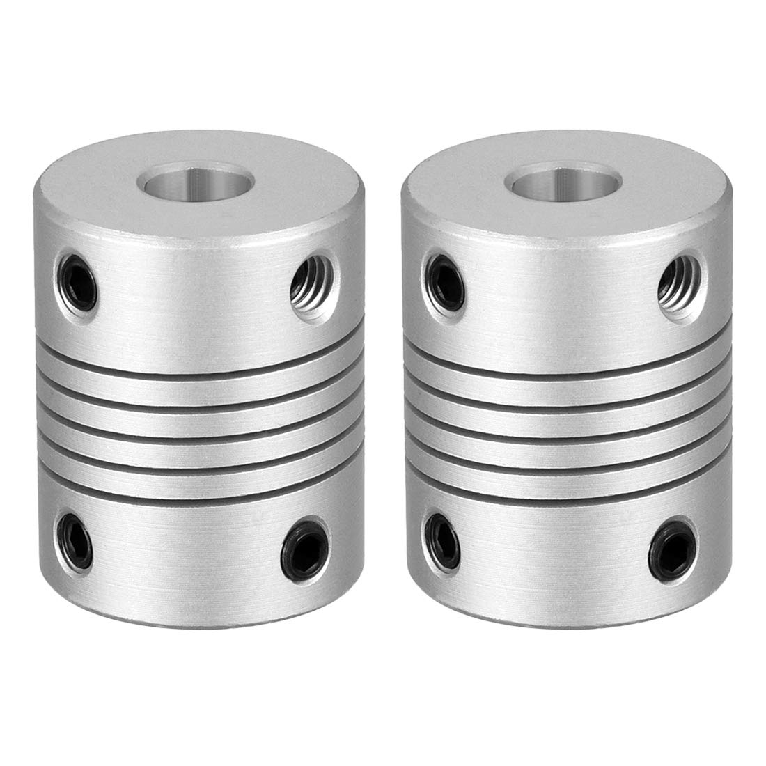 sourcing map 2pcs 5mm to 6mm Aluminum Alloy Shaft Coupling Flexible Coupler Motor Connector Joint L25xD19 Silver