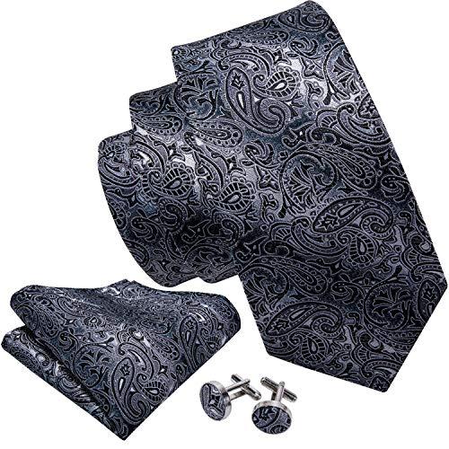 Gray Mens Cufflinks - Barry.Wang Black and Grey Tie Set Silk Neckties Formal