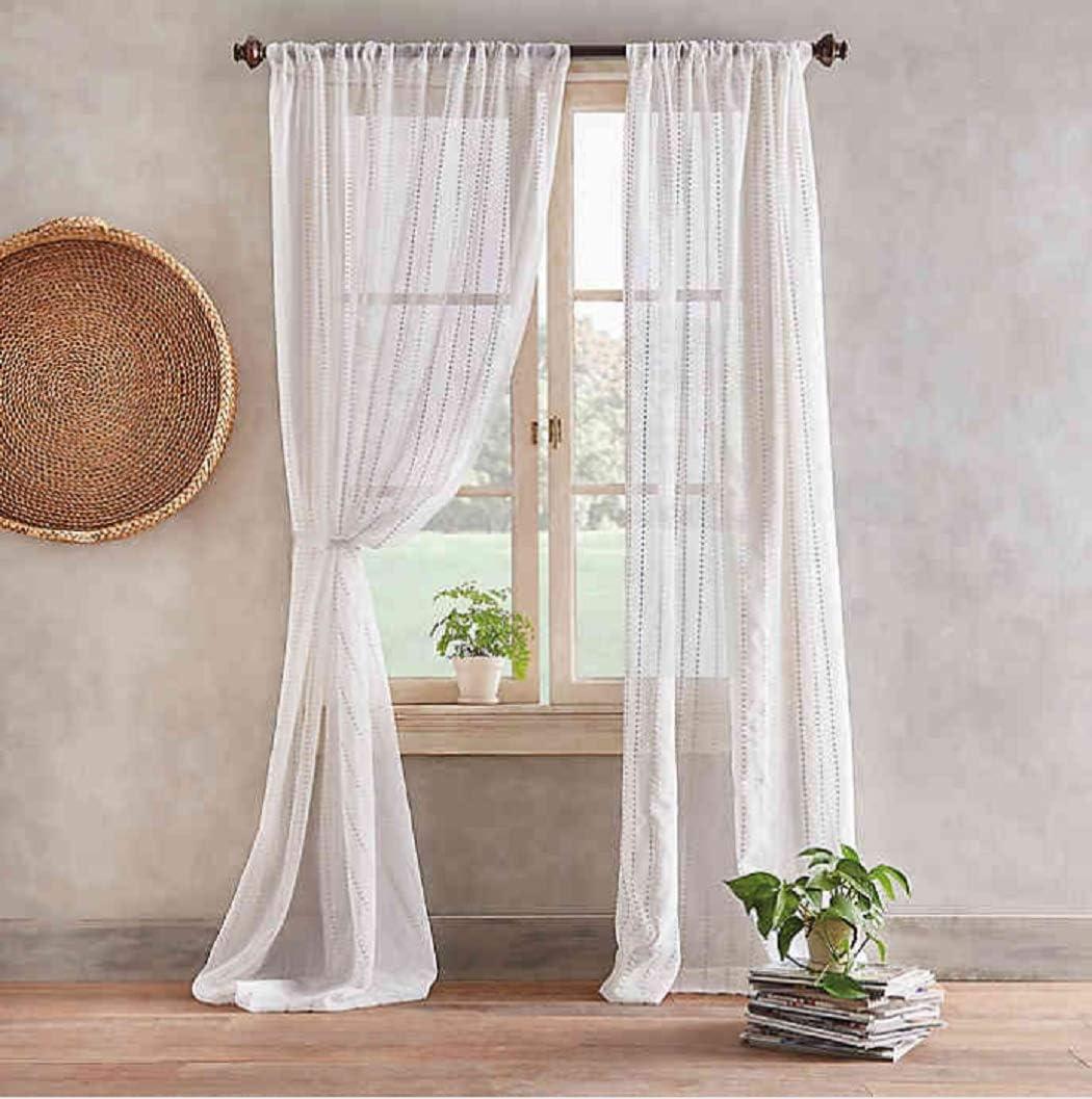Peri Home Desmond 84-Inch Pole Top Sheer Window Curtain Panel in Linen