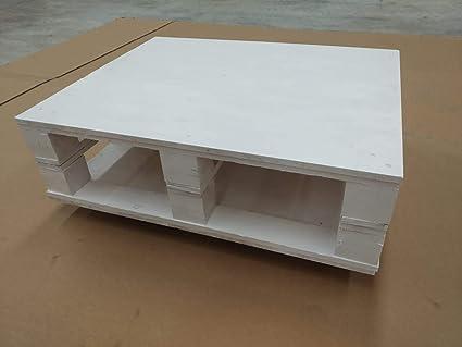 Mesa de centro de palet nuevo - CON RUEDAS - COLOR BLANCO: Amazon ...