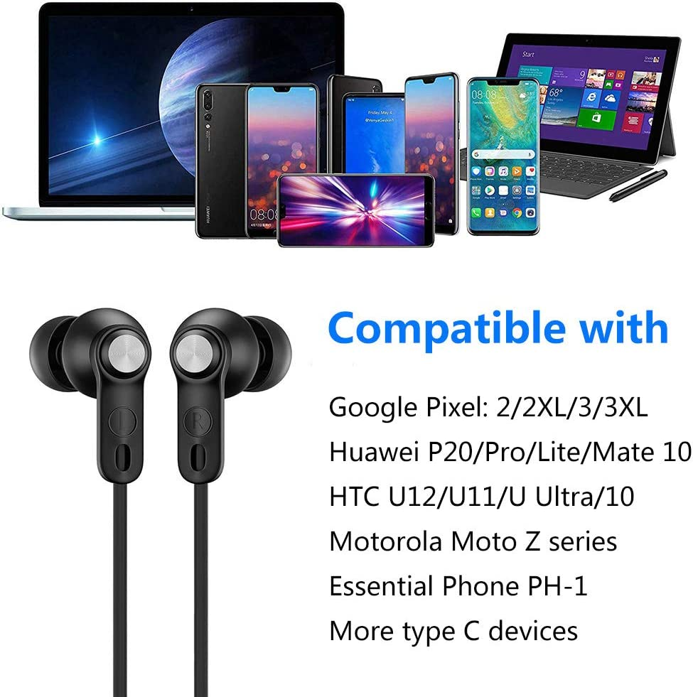 Dnifo USB C Headphones, USB C Earbuds in-Ear Noise Cancelling Earbuds with Mic Headsets Compatible with Google Pixel 3 2 XL, Huawei, HTC, Essential Phone