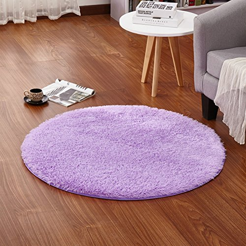 LOCHAS 4-Feet Round Area Rugs Super Soft Living Room Bedroom Home Shag Carpet (Purple) (Round Childrens Rugs)