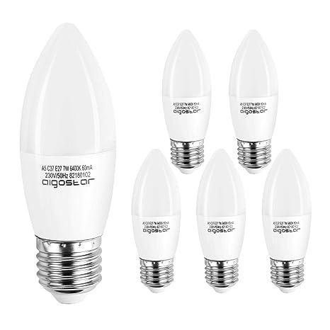 Aigostar - Bombilla LED A5 C37, E27, 7 W equivalente a 56 W, 6400K ...