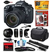 """Canon EOS 7D 18 MP CMOS Digital SLR Camera with 18-135mm f/3.5-5.6 IS UD Lens includes 16GB Memory + 2.2x Telephoto + 0.43x Wide Angle Lens + Hood + UV-CPL-FL Filters + 67"""" Monopod + Photography Guide"""