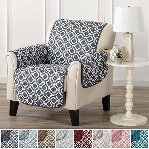 Modern Printed Reversible Stain Resistant Furniture Protector with Geometric Design. Perfect Cover for Pets and Kids. Adjustable Elastic Straps Included. Liliana Collection (Chair, Steel (Steel Microfiber Sofa)