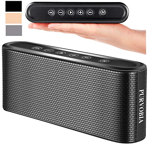 PURVOBIA Ultra Thin Slim Bluetooth Speaker - Bluetooth 5.0 Wireless Speaker Mini Portable Player Deep Bass Stereo Sound | Smart Touch Control w/ 20 Hour Playtime 5000mAh Power Bank Battery (Black)