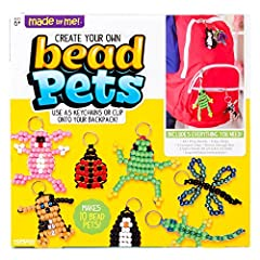 Use colorful beads and satin cords to create fun pets with the Made By Me! Create your own bead pets kit! Decorate and personalize your very own pet creations with over 600 bright pony beads in a variety of colors that can be coordinated in m...