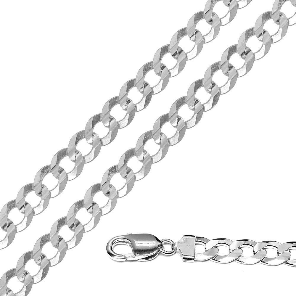 CloseoutWarehouse High Polished Sterling Silver Super Flat Curb 250 Chain 10mm