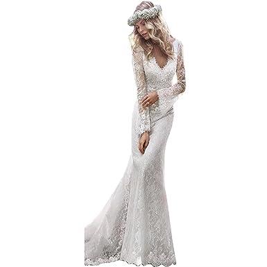 Mingxuerong Brautkleider Meerjungfrau Bohmischen V Ausschnitt