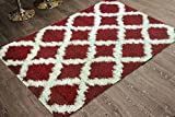 Adgo Chester Shaggy Collection Moroccan Mediterranean Trellis Lattice Design Vivid Color High Pile Carpet Thick Fluffy Kids Bedroom Living Dining Room Shag Floor Rug, Red Ivory, 6' x 9'